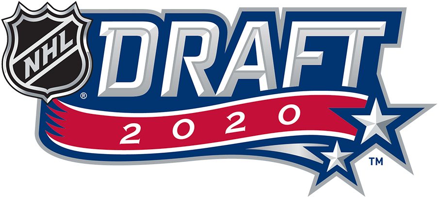 NHL Draft Logo Primary Logo (2019/20) - During the COVID-19 pandemic, the National Hockey League had to scrap their plans to hold a live, in-person draft in July. Originally set to be hosted by the Montreal Canadiens, the new draft -- now remote and held in October -- retained the Habs colour scheme for its logo but stripped away any references to be held in Montreal leaving just the wordmark from the original logo. SportsLogos.Net