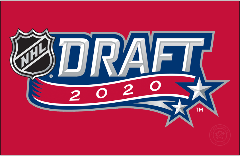 NHL Draft Logo Primary Dark Logo (2019/20) - During the COVID-19 pandemic, the National Hockey League had to scrap their plans to hold a live, in-person draft in July. Originally set to be hosted by the Montreal Canadiens, the new draft -- now remote and held in October -- retained the Habs colour scheme for its logo (shown here on red) but stripped away any references to be held in Montreal leaving just the wordmark from the original logo. SportsLogos.Net