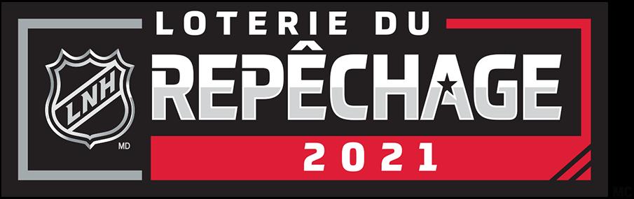 NHL Draft Logo Misc Logo (2020/21) - The French version of the 2021 NHL Draft Lottery logo shows the DRAFT wordmark from the primary 2021 NHL Draft logo inside a black rectangle with red and silver elements, within the red is LOTTERY and the year 2021 is above in silver.  La version française du logo de la loterie du repêchage de la LNH 2021 montre le mot-symbole DRAFT du logo principal du repêchage de la LNH 2021 à l'intérieur d'un rectangle noir avec des éléments rouges et argentés, dans le rouge est LOTERIE et l'année 2021 est au-dessus en argent. SportsLogos.Net
