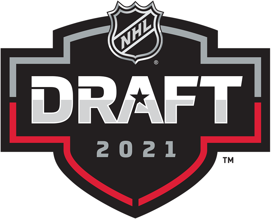 NHL Draft Logo Primary Logo (2020/21) - The 2021 NHL Draft logo has the word DRAFT with a star in white and silver placed within a black shield with silver and red trim, the year 2021 is below in silver and the NHL league logo is above. The 2021 NHL Draft is held remotely due to travel restrictions related to the COVID-19 pandemic. SportsLogos.Net