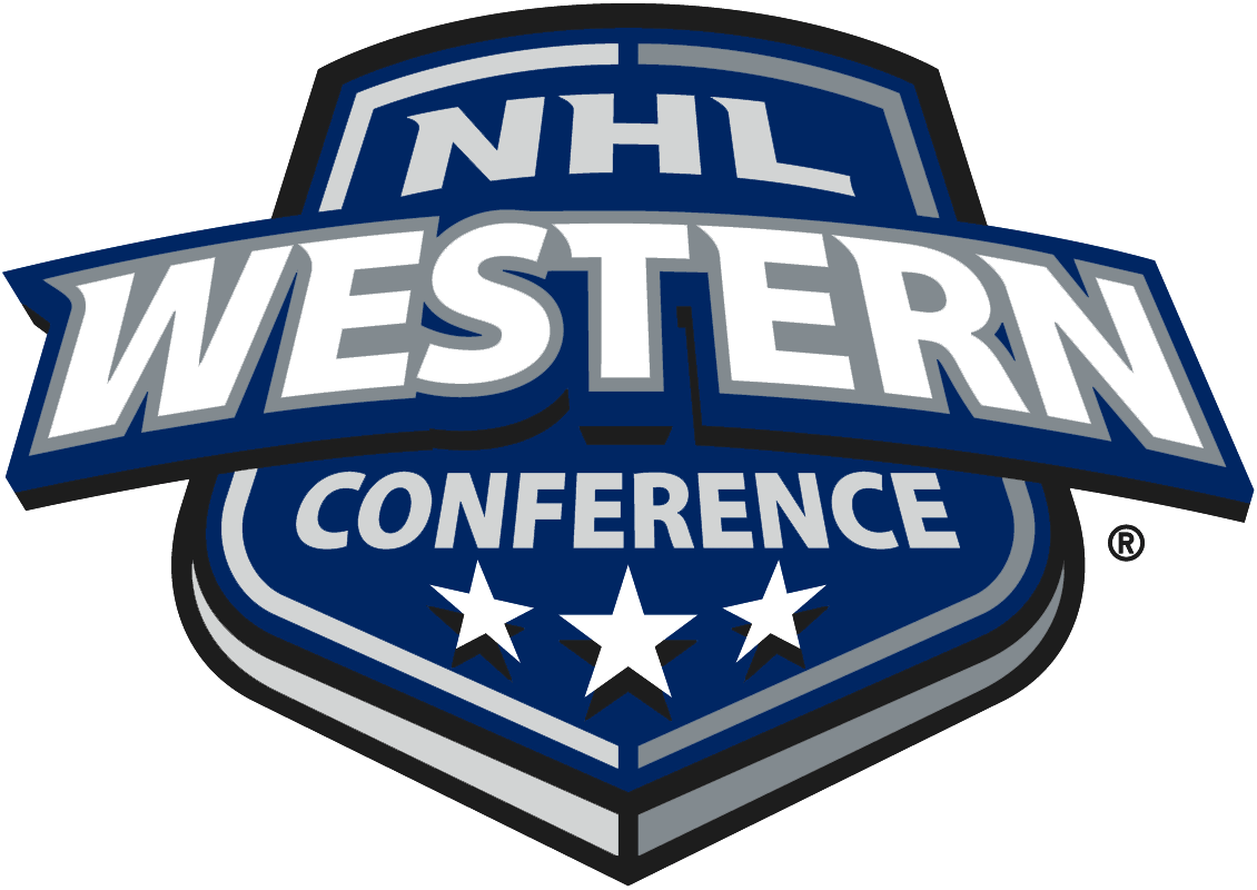 NHL Western Conference Logo Primary Logo (2005/06-Pres) - Blue shield with Western Conference in White and 3 Stars SportsLogos.Net
