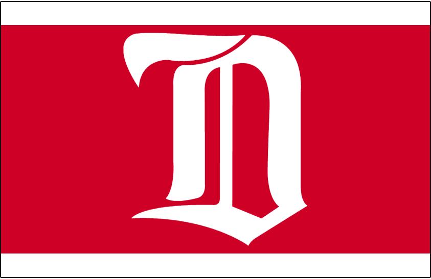 Detroit Cougars Logo Jersey Logo (1926/27) - White D on a red stripe on a white jersey SportsLogos.Net