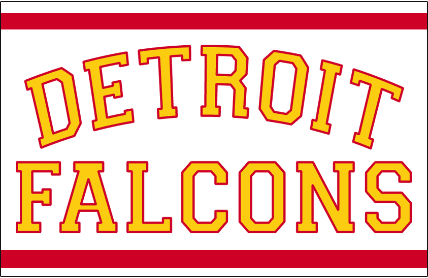 Detroit Falcons Logo Jersey Logo (1930/31-1931/32) - DETROIT FALCONS in gold and red on a white jersey with red stripes, worn on Falcons jersey in 1930-31 and 1931-32 seasons SportsLogos.Net