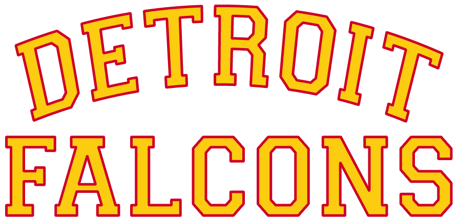 Detroit Falcons Logo Primary Logo (1930/31-1931/32) - Detroit arched over Falcons in yellow and red SportsLogos.Net