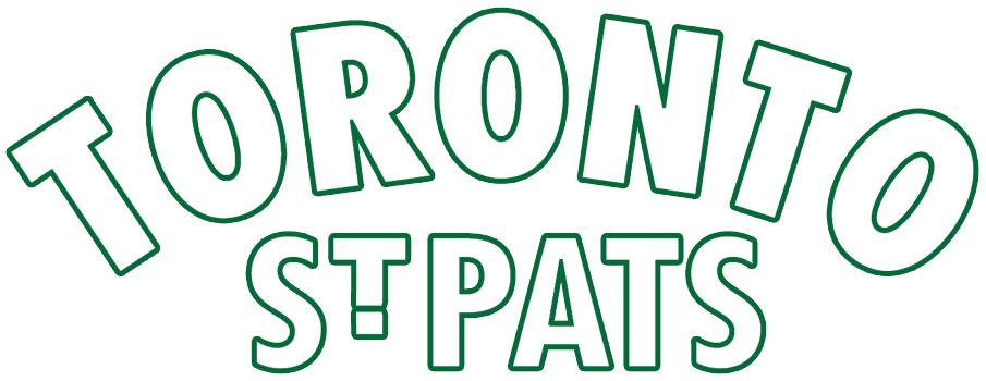 Toronto St. Patricks Logo Primary Logo (1926/27) - Toronto St. Pats in white with green outline on green stripes SportsLogos.Net