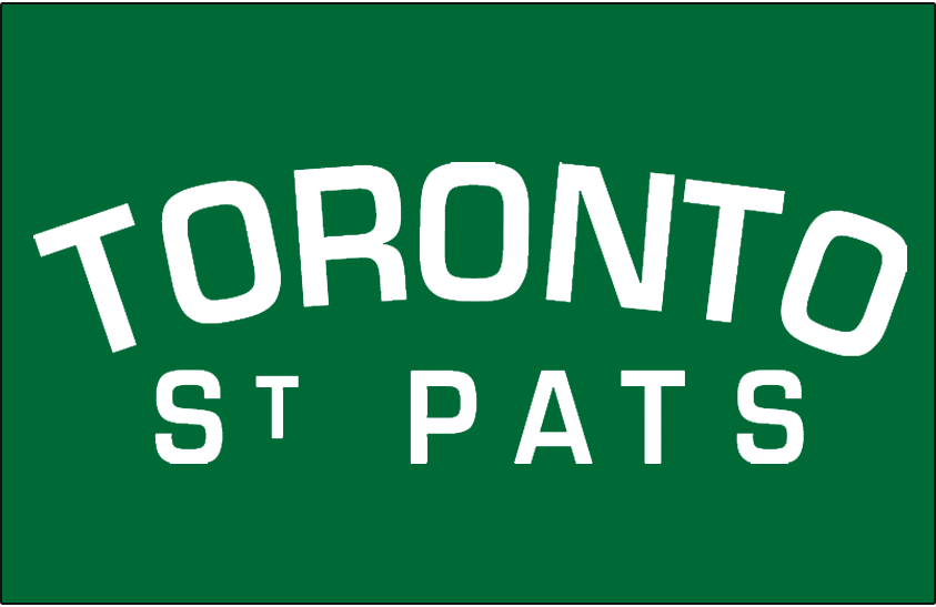 Toronto St. Patricks Logo Jersey Logo (1920/21) - TORONTO in white arched over ST PATS on a green jersey. Worn on the Toronto St Pats uniform in 1920-21 and again in 1925-26 SportsLogos.Net