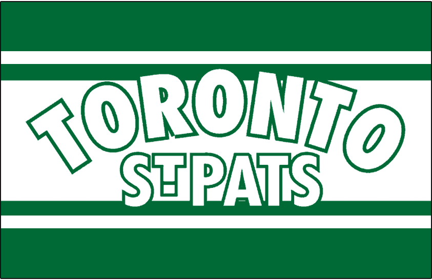 Toronto St. Patricks Logo Jersey Logo (1926/27) - TORONTO arched over ST PATS in white with green outline on a white and green striped jersey. Worn for only half of the 1926-27 season, team name changed to Toronto Maple Leafs with two months remaining in the season. SportsLogos.Net