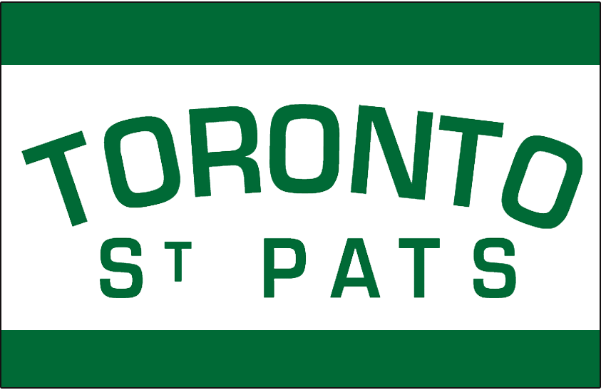 Toronto St. Patricks Logo Jersey Logo (1919/20) - TORONTO in green arched over ST PATS on a white stripe on a green jersey. Worn on the Toronto St Pats uniform in 1919-20 and again in 1921-22 SportsLogos.Net