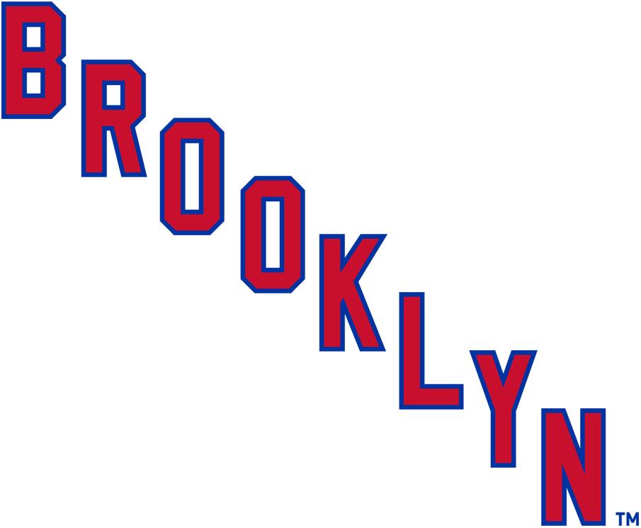 Brooklyn Americans Logo Primary Logo (1941/42) - BROOKLYN in red and white written diagonally SportsLogos.Net