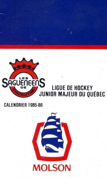 Chicoutimi Saguenéens Pocket Schedule Pocket Schedule (1985/86) -  SportsLogos.Net