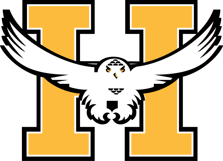 Beauport Harfangs Logo Primary Logo (1990/91-1996/97) - A white snowy owl flying with a yellow H in the background.  Un harfang blanc avec un H jaune dans le fond. SportsLogos.Net