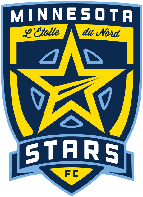 Minnesota Stars FC Logo Primary Logo (2012) - A dark blue shield with light blue accents features Minnesota in text at the top and stars in text in the banner at the bottom and has a yellow star placed at the center. Also in french near the top is written L'Etoile du Nord which translated in english means star of the north. L'Etoile du Nord is the Minnesota State motto. SportsLogos.Net