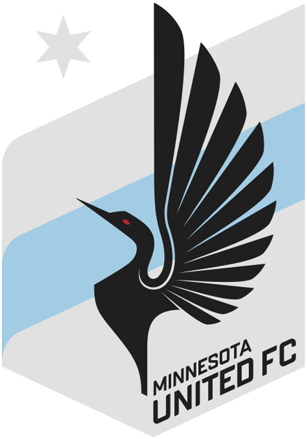 Minnesota United FC Logo Primary Logo (2013-2016) - A stylized loon (which is the state bird of Minnesota) over a grey shield with a sky blue banner running through the middle, and a grey star in the upper left. SportsLogos.Net