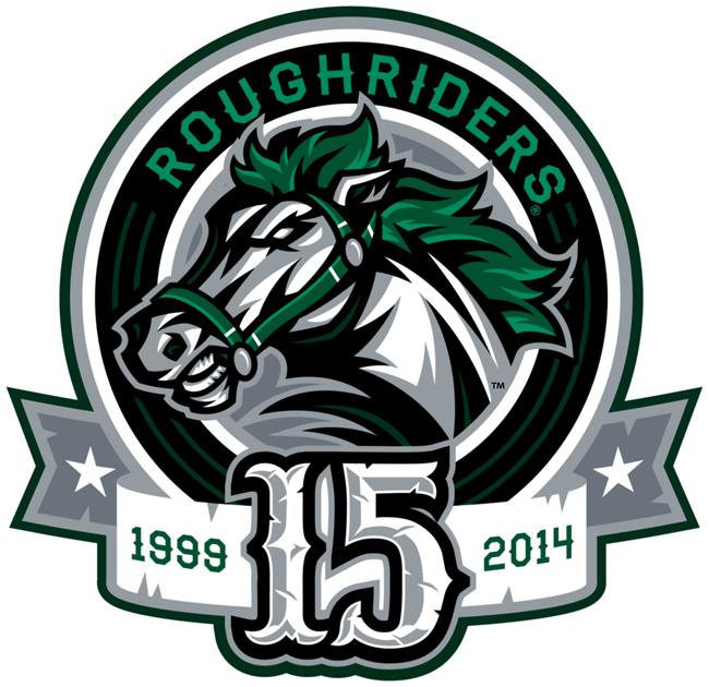 Cedar Rapids RoughRiders Logo Anniversary Logo (2013/14) - 15th Anniversary logo SportsLogos.Net