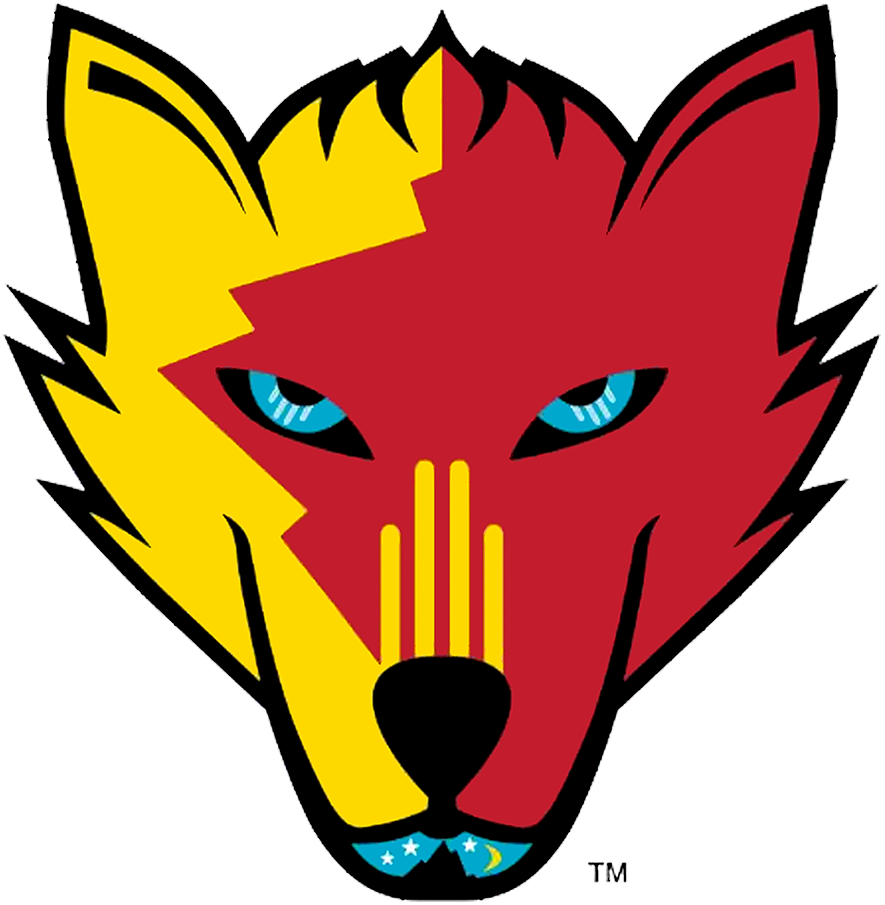 New Mexico Ice Wolves Logo Primary Logo (2019/20-Pres) - A wolf with the state colours of New Mexico, Zia symbol from flag on snout, hot air balloon for nose SportsLogos.Net