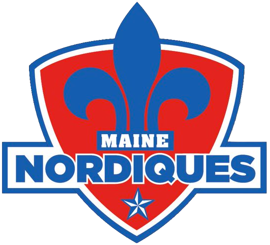 Maine Nordiques Logo Primary Logo (2019/20-Pres) - A blue fleur-de-lys in side a red shield, team name below and a star at the bottom SportsLogos.Net