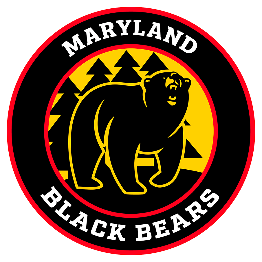 Maryland Black Bears Logo Primary Logo (2018/19-Pres) - A black bear shown walking through a forest with pine trees on a yellow and red roundel circle SportsLogos.Net