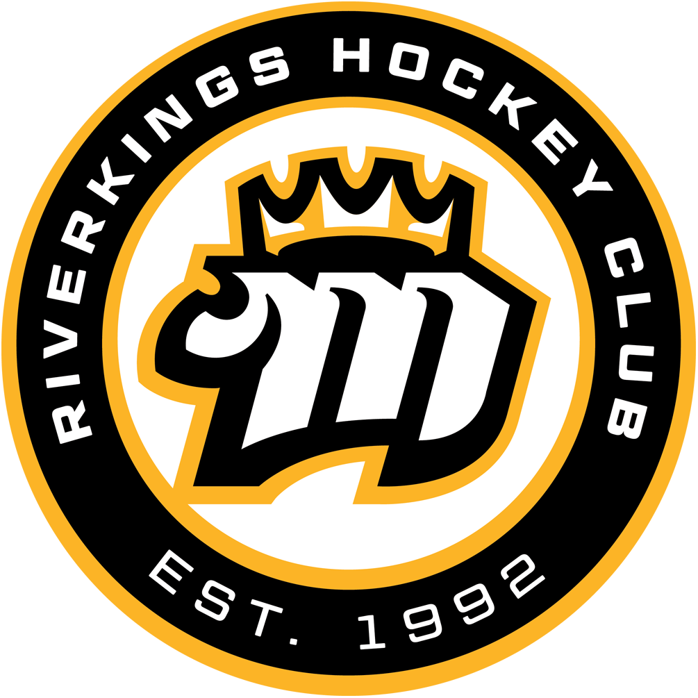 Mississippi RiverKings Logo Alternate Logo (2015/16-Pres) - White and black M with yellow crown on it inside a yellow circle with black roundel, team name and establishment year around it SportsLogos.Net