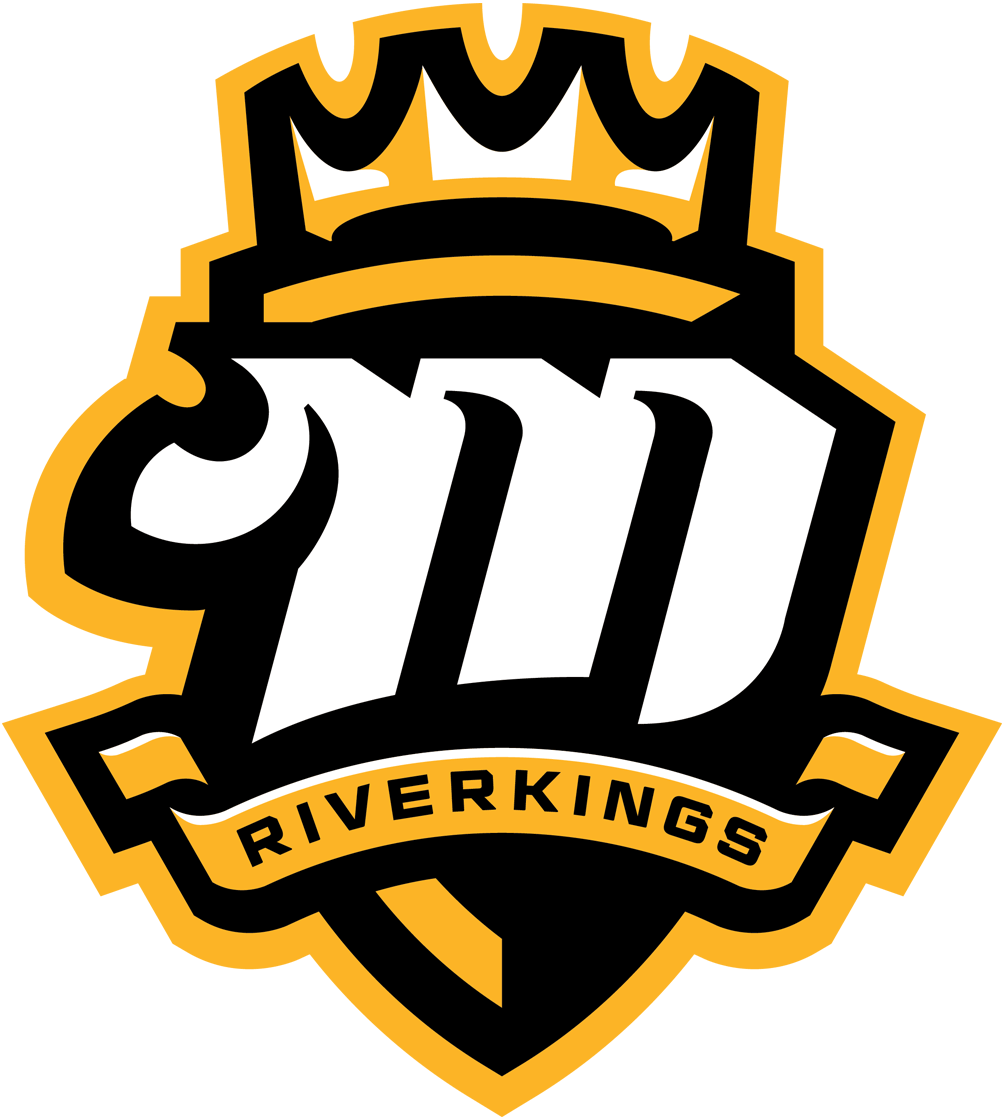 Mississippi RiverKings Logo Primary Logo (2015/16-Pres) - White M in a black and yellow shield, crown above and team name on banner below SportsLogos.Net