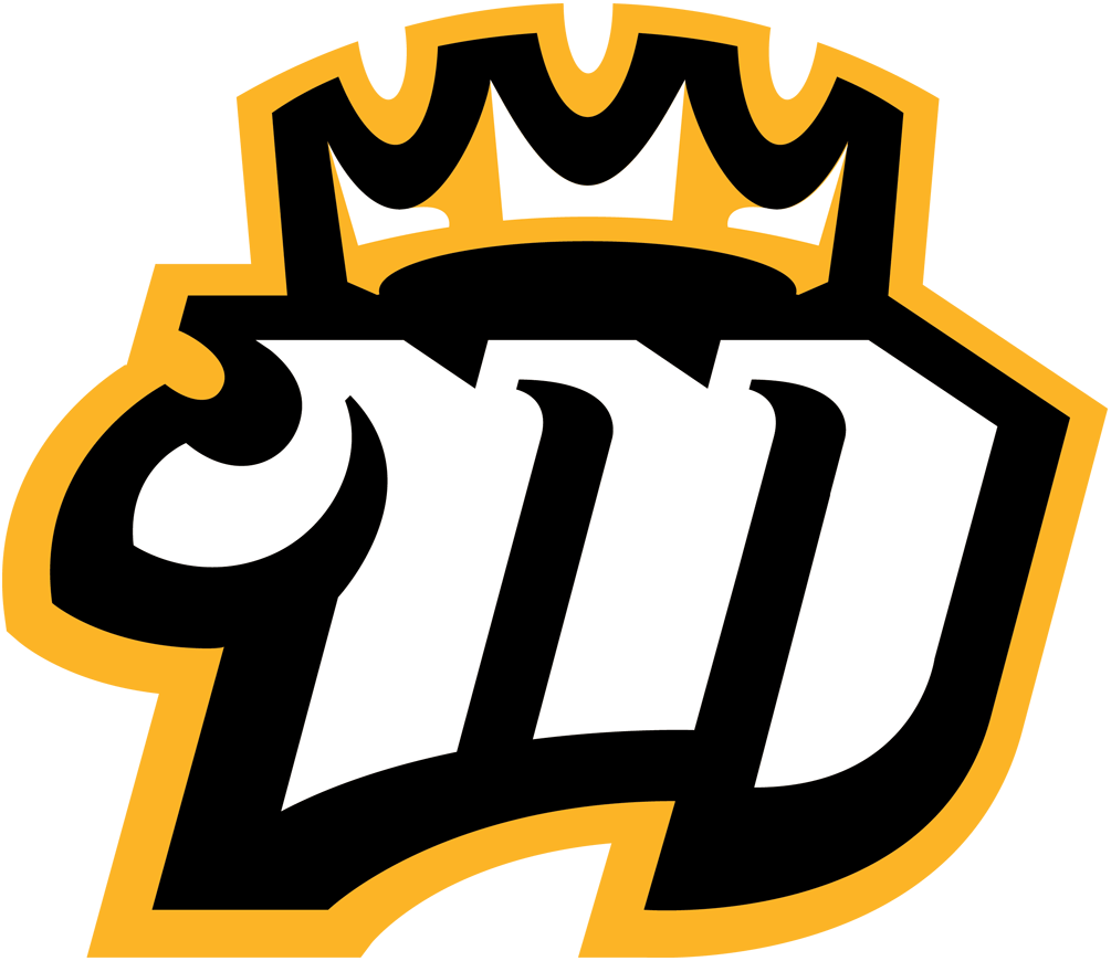 Mississippi RiverKings Logo Alternate Logo (2015/16-Pres) - White and black M with yellow crown on it SportsLogos.Net