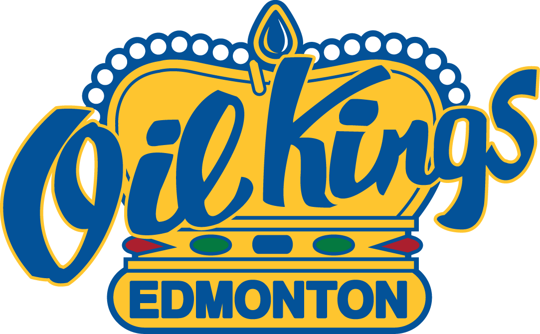 Edmonton Oil Kings Logo Secondary Logo (2007/08-Pres) - A yellow crown with jewels and 'Oil Kings' across in blue SportsLogos.Net