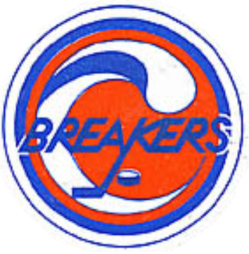 Seattle Breakers Logo Primary Logo (1977/78-1982/83) - Breakers in red with hockey stick stricking puck with waves SportsLogos.Net