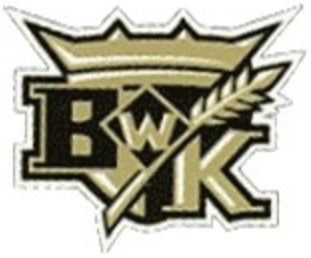 Brandon Wheat Kings Logo Secondary Logo (2003/04) - Black and gold BK with wheat on a shield with crown SportsLogos.Net