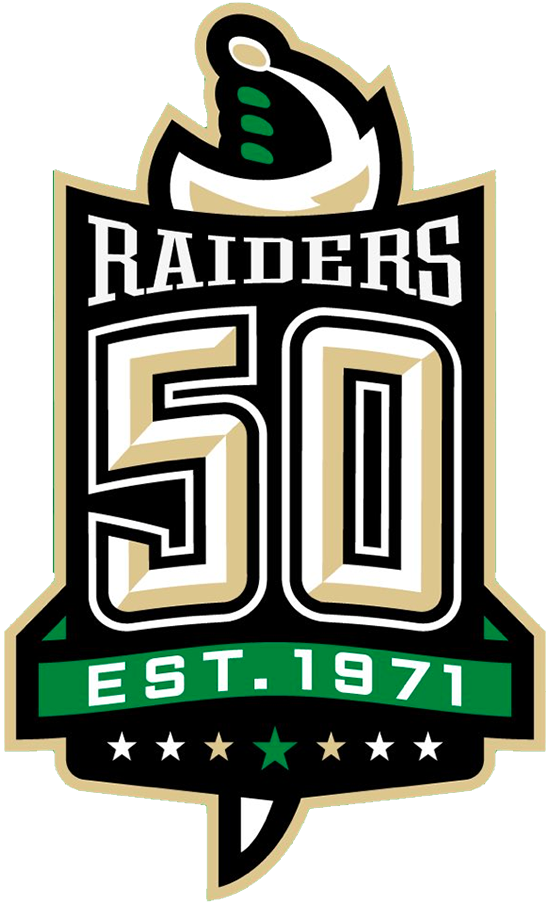 Prince Albert Raiders Logo Anniversary Logo (2020/21) - Prince Albert Raiders 50th anniversary logo (includes the team's years in the Saskatchewan Jr Hockey League)  SportsLogos.Net