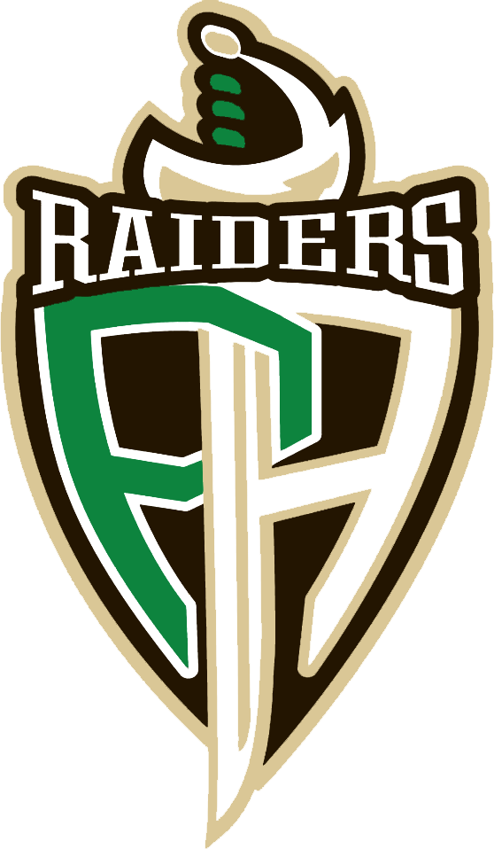 Prince Albert Raiders Logo Primary Logo (2013/14-Pres) - An interlocking PA in green and white within a black shield, the far left side of the A also forming the blade of a sword.  Raiders above in white. SportsLogos.Net