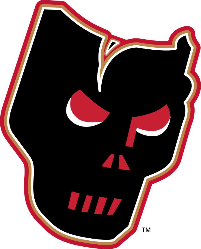Calgary Hitmen Logo Alternate Logo (2009/10-Pres) - A black hockey mask with gold and red outlining SportsLogos.Net