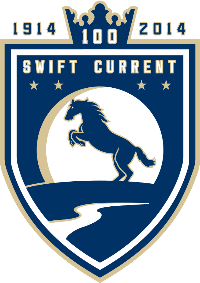 Swift Current Broncos Logo Special Event Logo (2013/14) - Centennial Jersey Crest logo: Used on March 12th, 2014 to celebrate the city of Swift Current's 100th anniversary. The crown represents the crowning achievement of the city turning 100 years old, the four stars represent the four Broncos who lost their lives in the 1986 bus crash, and the rolling hills and creek represent the regional landscape of Swift Current, Saskatchewan. SportsLogos.Net