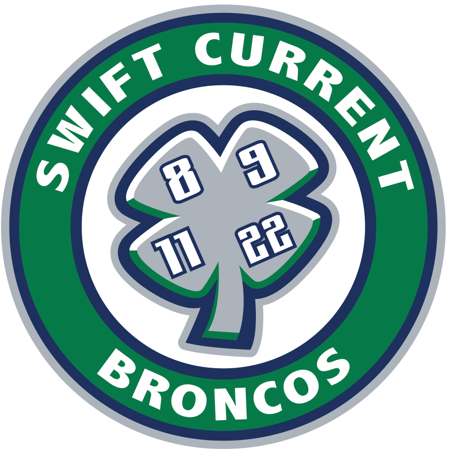 Swift Current Broncos Logo Special Event Logo (2011/12) - Memorial Jersey Crest: Worn on February 11th, 2012, to honour the lives of four team members (Trent Kresse, Scott Kruger, Chris Mantyka, and Brent Ruff) who lost their lives in a bus crush on December 30th, 1986. Their respective numbers were immediately retired by the organization and a four leaf clover containing their numbers lies within the main crest of this jersey. The 2011-12 season marked the 25th anniversary of this tragic event. SportsLogos.Net