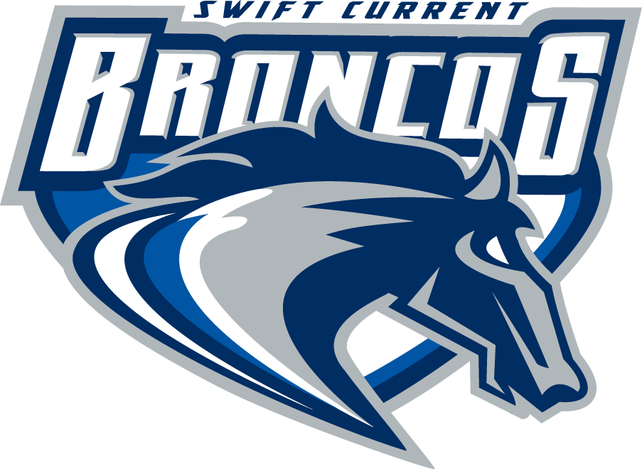 Swift Current Broncos Logo Primary Logo (2003/04-2013/14) - A stylized bronco head with the script Broncos above it SportsLogos.Net