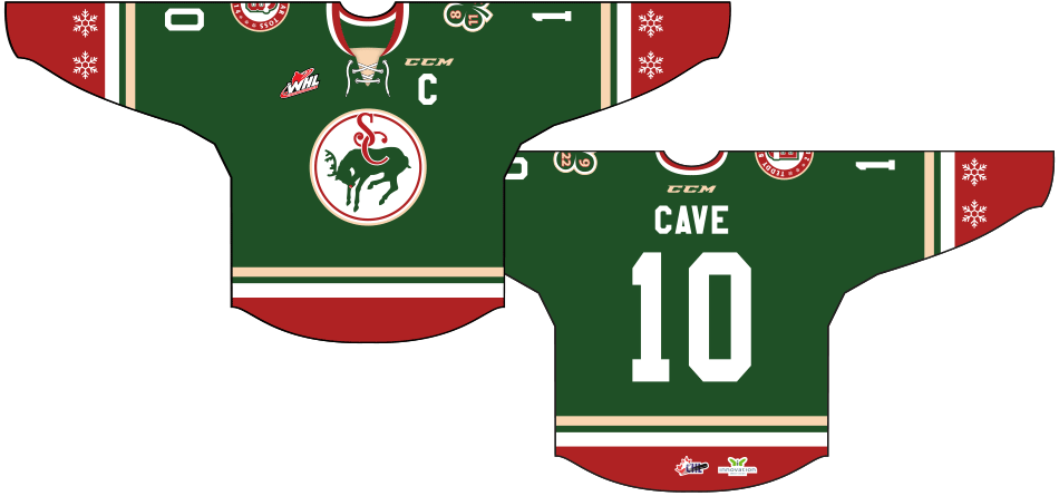 Swift Current Broncos Uniform Special Event Uniform (2014/15) - Teddy Bear Toss Jersey: Worn on December 6th, 2014, as a Christmas themed jersey on Teddy Bear Toss Night. All the stuffed animals collected were donated to local children's hospitals, while the proceeds generated from the jersey auction were used to host a Christmas party for local underprivileged kids.  SportsLogos.Net