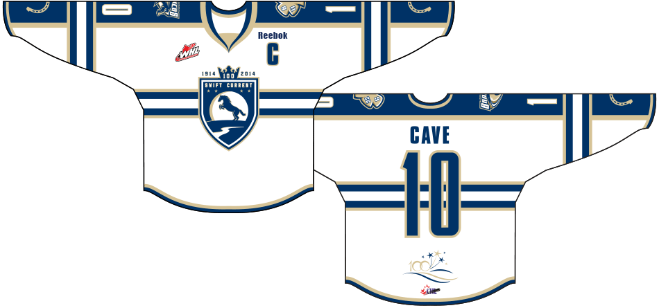 Swift Current Broncos Uniform Special Event Uniform (2013/14) - Centennial Jersey: Worn on March 12th, 2014 to celebrate the city of Swift Current's 100th anniversary. The city's anniversary logo sits below the numbers on the back of the jersey. SportsLogos.Net