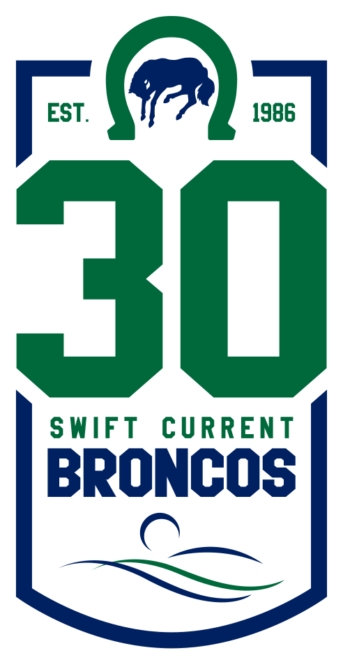 Swift Current Broncos Logo Anniversary Logo (2015/16) - 30th Anniversary Patch: Used throughout the 2015-16 Western Hockey League season to celebrate the team's 30th anniversary after having relocated from Lethbridge, Alberta back to Swift Current, Saskatchewan in 1986. SportsLogos.Net