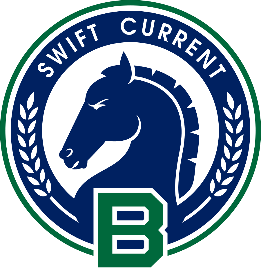 Swift Current Broncos Logo Special Event Logo (2015/16) - 30th Anniversary Jersey Crest logo: Used on November 27th and 28th, 2015, to celebrate the team's 30th anniversary after having relocated from Lethbridge, Alberta back to Swift Current, Saskatchewan in 1986. A side profile bronco surrounded by a B, the words 'SWIFT CURRENT' and 30 wheat kernels (representing the 30 seasons) complete this logo. SportsLogos.Net