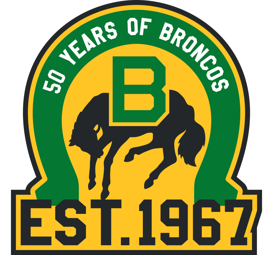 Swift Current Broncos Logo Anniversary Logo (2016/17) - 50th Anniversary logo in yellow and green. SportsLogos.Net