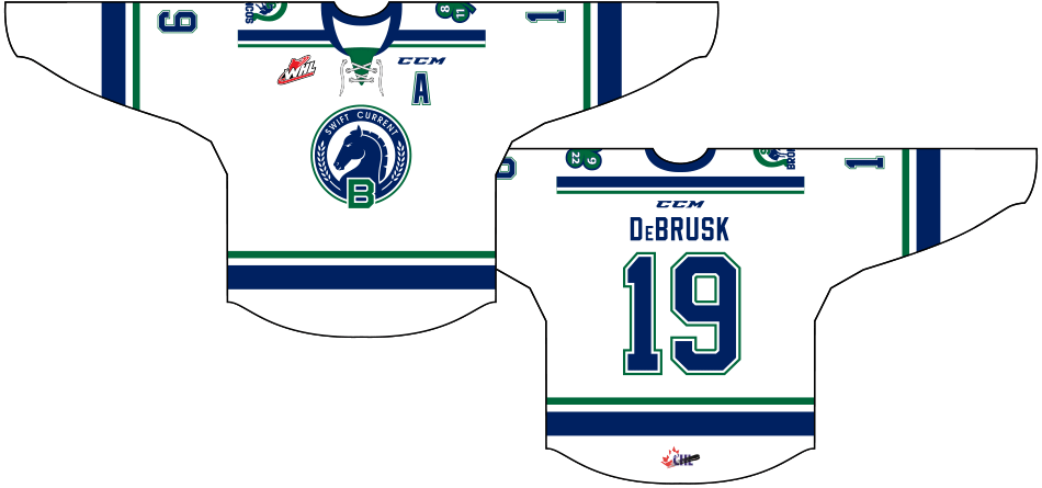 Swift Current Broncos Uniform Special Event Uniform (2015/16) - 30th Anniversary Jersey: Worn on November 27th and 28th, 2015, to celebrate the team's 30th anniversary after having relocated from Lethbridge, Alberta back to Swift Current, Saskatchewan in 1986. SportsLogos.Net