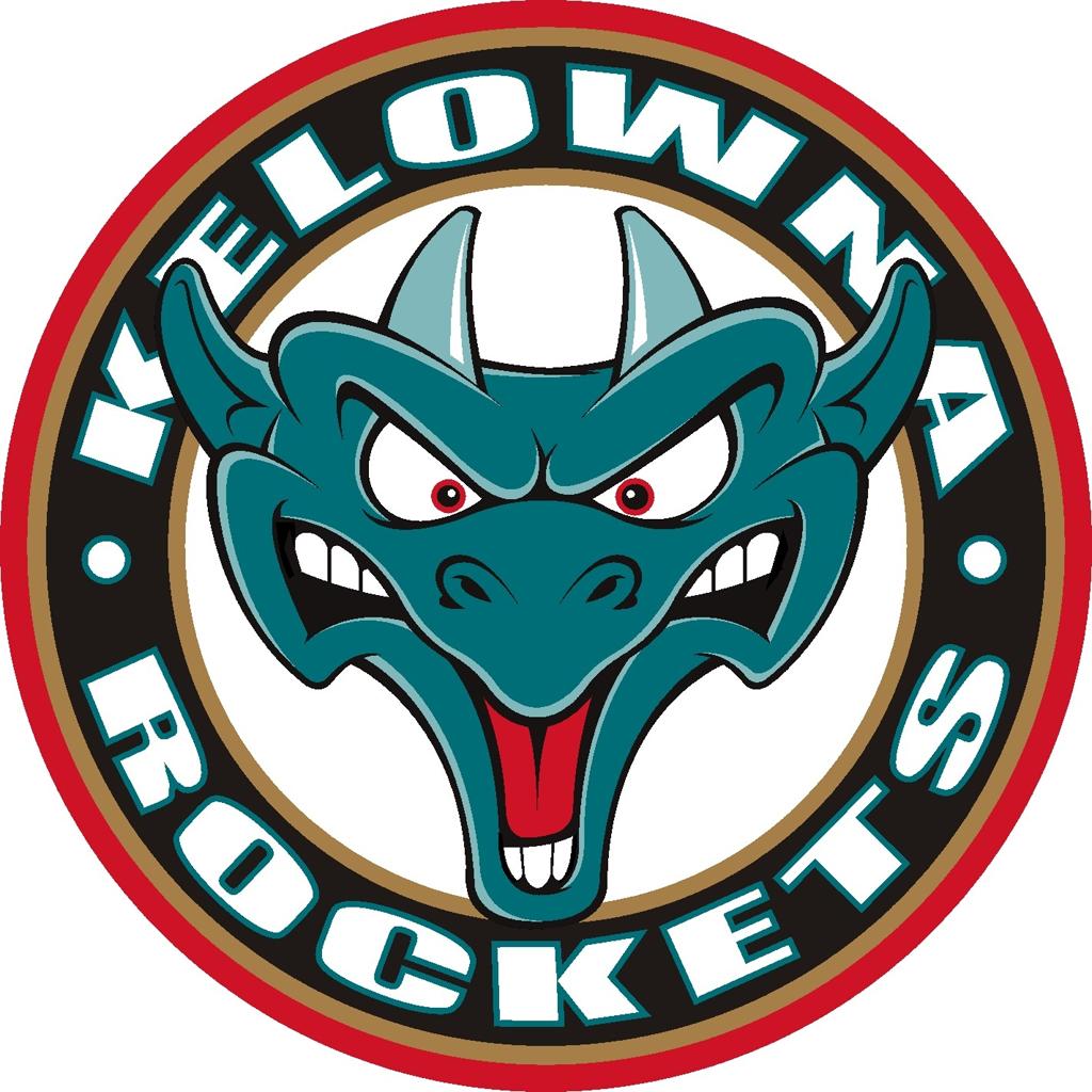 Kelowna Rockets Logo Alternate Logo (2000/01-Pres) - Dragons head in a black ring with team name SportsLogos.Net