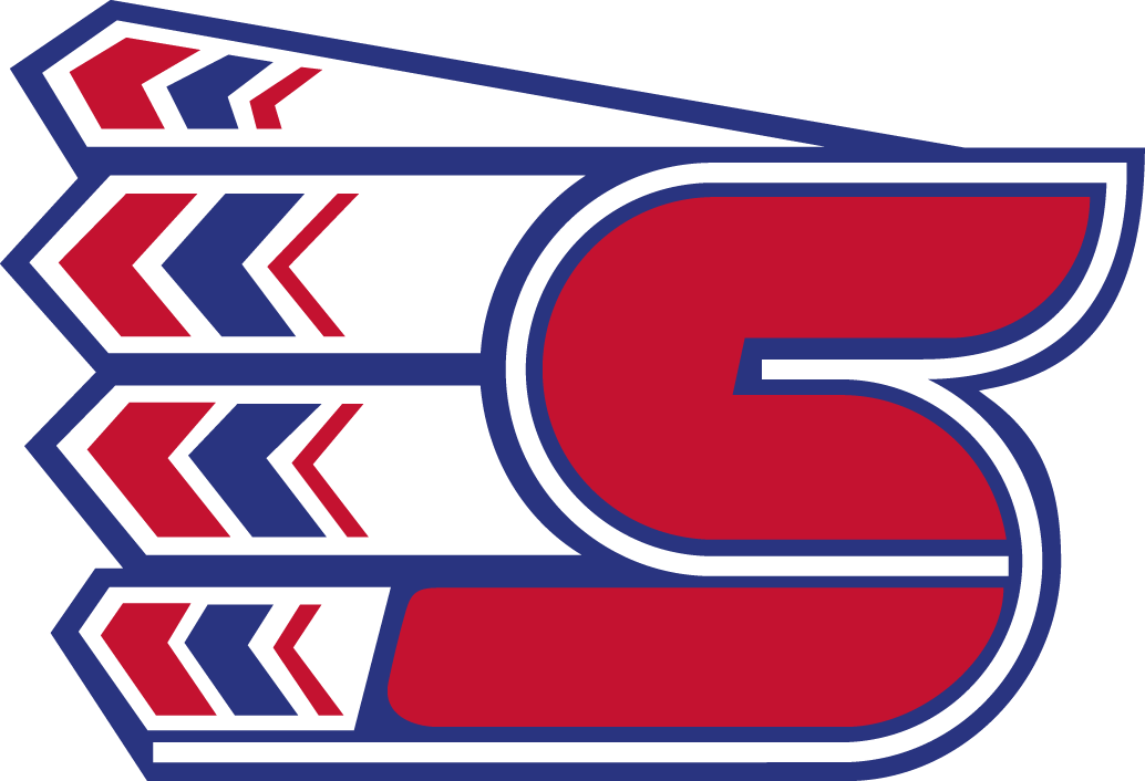 Spokane Chiefs Logo Primary Logo (1990/91-Pres) - Red C forming a S with native american head dress SportsLogos.Net