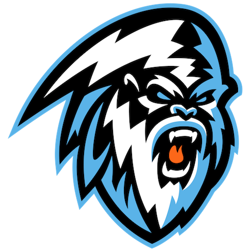 Winnipeg Ice Logo Primary Logo (2019/20-Pres) - A yeti in black, blue, and white with ICE spelled out in the lower left SportsLogos.Net
