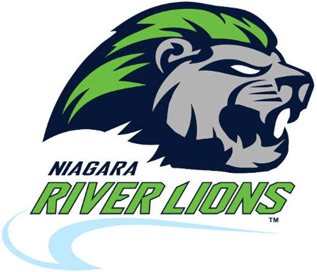 Niagara River Lions Logo Primary Logo (2015/16-Pres) - A silver lion with a green mane above team name in blue and green, two waves below in light blue SportsLogos.Net