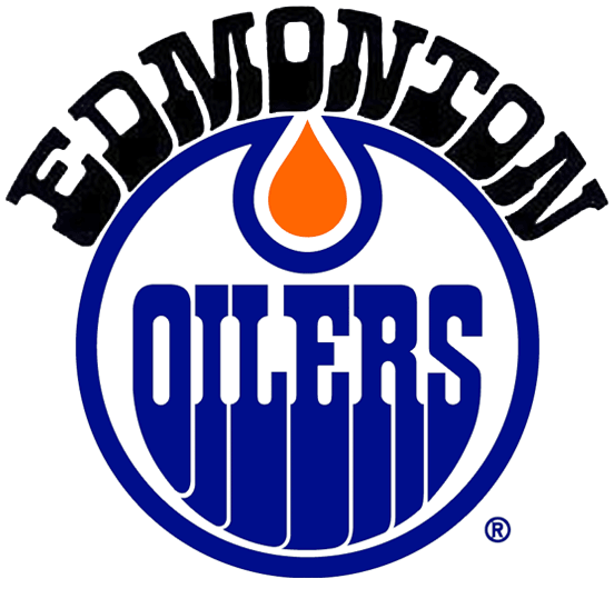 Edmonton Oilers Logo Alternate Logo (1975/76-1977/78) - OILERS in blue inside a blue circle with orange oil drop and EDMONTON arched above in black SportsLogos.Net