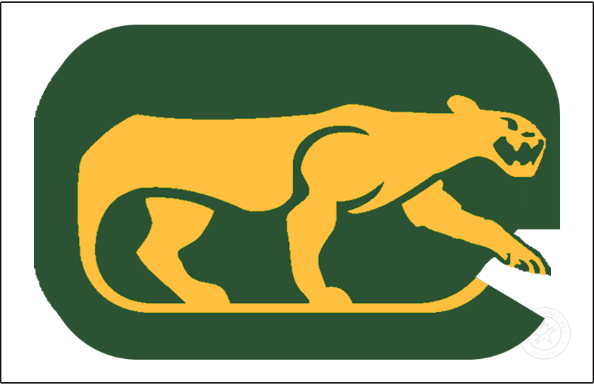 Chicago Cougars Logo Jersey Logo (1972/73-1973/74) - The WHA Chicago Cougars wore this slightly modified version of their primary logo on the front of their white jerseys for their first two seasons - the logo shows a yellow cougar prowling on a green rounded rectangle (in the shape of a C) with the tail of the cougar forming a hockey stick. This logo differs from the primary in that the cougar is contained entirely within the C SportsLogos.Net