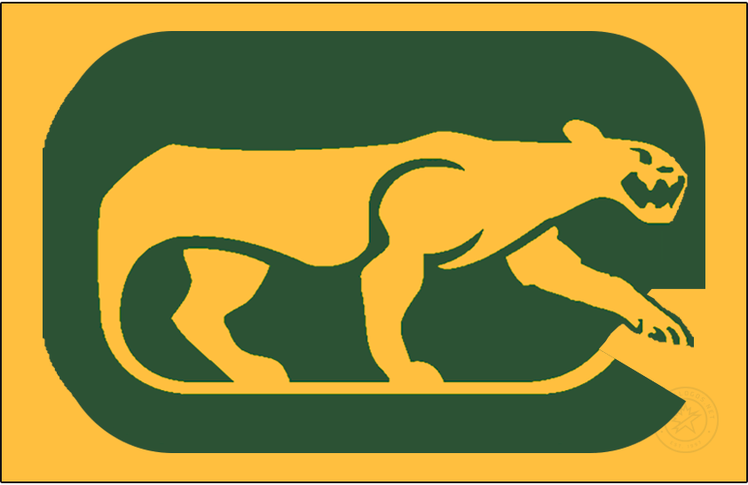 Chicago Cougars Logo Jersey Logo (1972/73-1973/74) - The WHA Chicago Cougars wore this slightly modified version of their primary logo on the front of their yellow jerseys for their first two seasons - the logo shows a yellow cougar prowling on a green rounded rectangle (in the shape of a C) with the tail of the cougar forming a hockey stick. This logo differs from the primary in that the cougar is contained entirely within the C SportsLogos.Net