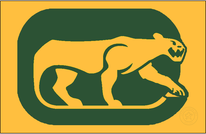 Chicago Cougars Logo Jersey Logo (1974/75) - For their final season, the WHA Chicago Cougars wore their primary logo on the front of their yellow jerseys - the logo shows a yellow cougar prowling on a green rounded rectangle (in the shape of a C) with the tail of the cougar forming a hockey stick. SportsLogos.Net