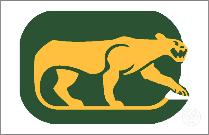 Chicago Cougars Logo Jersey Logo (1974/75) - For their final season, the WHA Chicago Cougars wore their primary logo on the front of their white jerseys - the logo shows a yellow cougar prowling on a green rounded rectangle (in the shape of a C) with the tail of the cougar forming a hockey stick. SportsLogos.Net