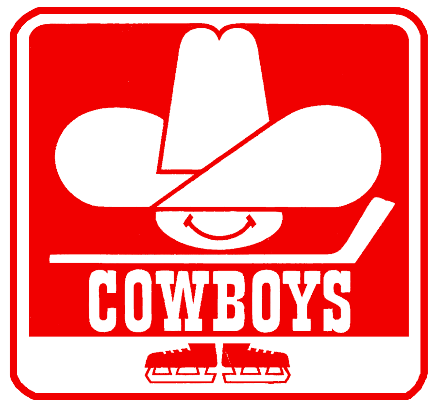 Calgary Cowboys Logo Primary Logo (1975/76-1976/77) - Cowboys head with hockey stick and script in red box over skates SportsLogos.Net
