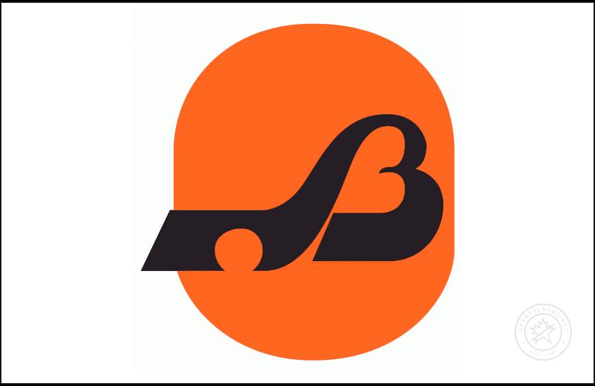 Baltimore Blades Logo Jersey Logo (1974/75) - A stylized black B with a hockey stick on an orange oval, worn on the Baltimore Blades home white jersey in 1974-1975 SportsLogos.Net